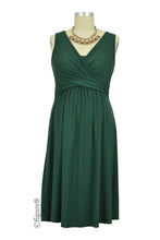Ava Sleeveless Wrap Maternity & Nursing Dress - Myrtle Green - XS