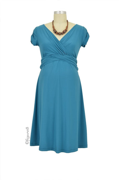 Hillary Luxe Jersey Maternity & Nursing Dress - Teal - XS