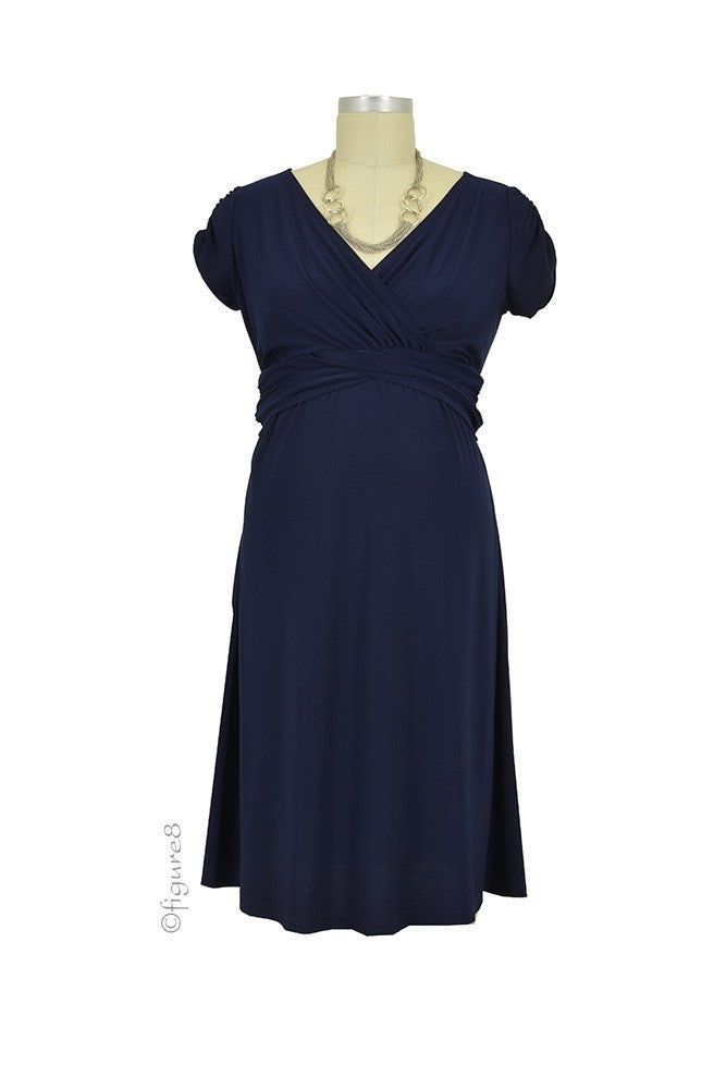 Hillary Luxe Jersey Maternity & Nursing Dress - Navy - Size Small