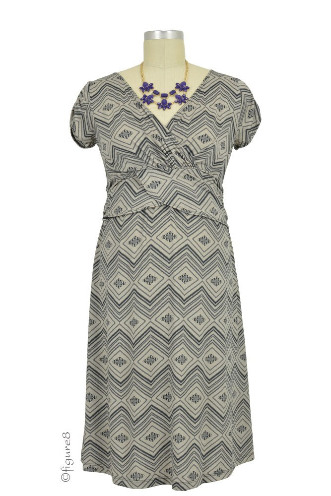 Hillary Luxe Jersey Maternity & Nursing Dress - Cray Diamond Print - XS