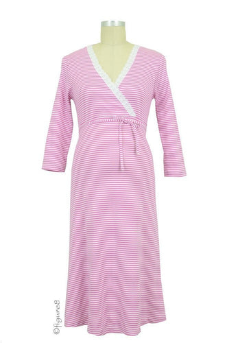 Levke Nursing Night Dress -  Fuschia & White Stripe - size Large