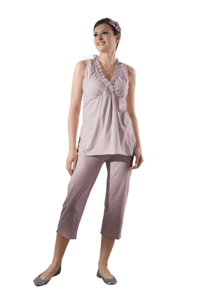 Chiffon Trim Nursing PJ Set - Hushed Violet - L