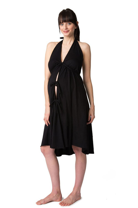 Pretty Pushers Cotton Jersey Labor Gown - Black - One Size