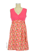 Retro Tomato Print Surplice Cotton Maternity & Nursing Dress - Coral/ Tomato Print - S