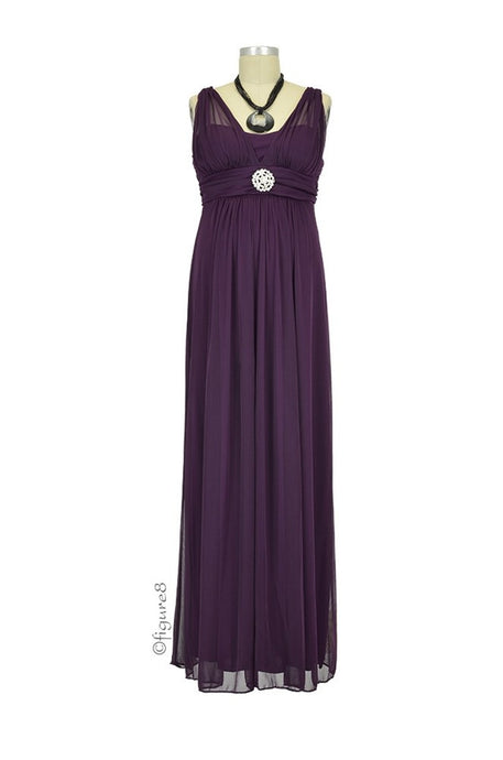 Cecilia Maternity Maxi Gown - Plum - Size Large