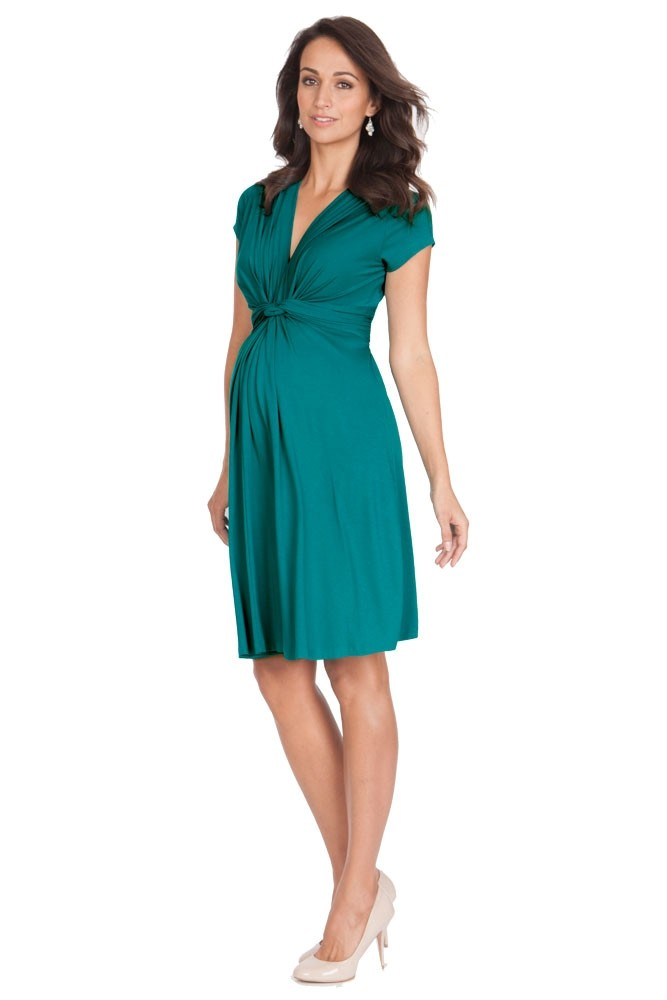 Seraphine Jolene Short Sleeve Maternity Dress - Peacock Green - US 10