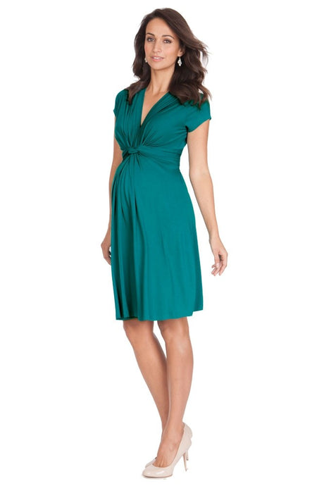 Seraphine Jolene Short Sleeve Maternity Dress - Peacock Green - US 12
