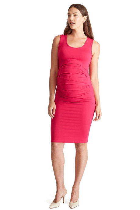Ingrid & Isabel Pleated Tank Maternity Dress - Berry - S