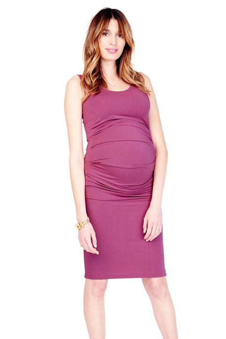 Ingrid & Isabel Pleated Tank Maternity Dress - Hibiscus - M