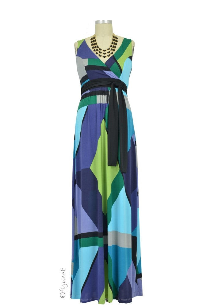 Olian Maternity Gemma Maxi Maternity Dress - Blue, Gray & Green Print - size Medium