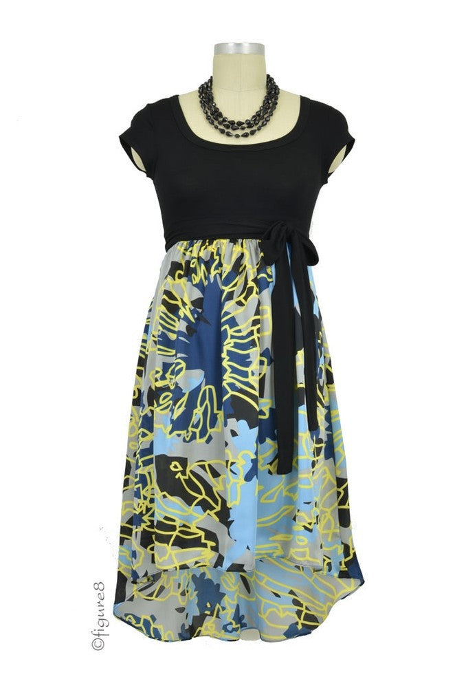 Anthea HiLo Maternity Dress - Multi Color Abstract Print - Size XSmall