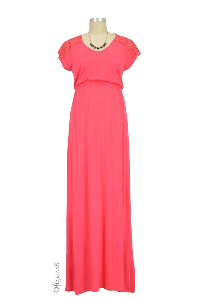 Juliet Maxi Maternity Dress - Coral - Size Small