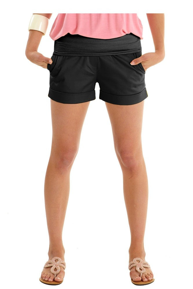 Jacob Maternity Sateen Short Shorts - Black - Size Large