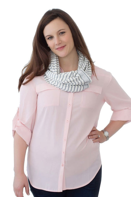 NuRoo Nursing Scarf - Gray Stripe - One Size