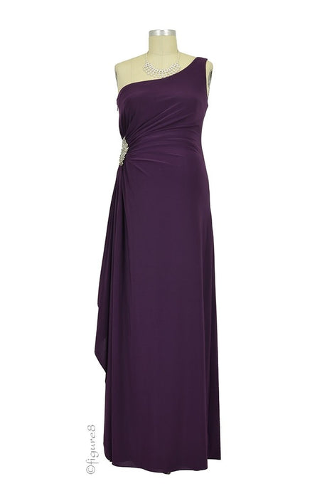 Olivia One-Shoulder Maternity Gown - Plum - S