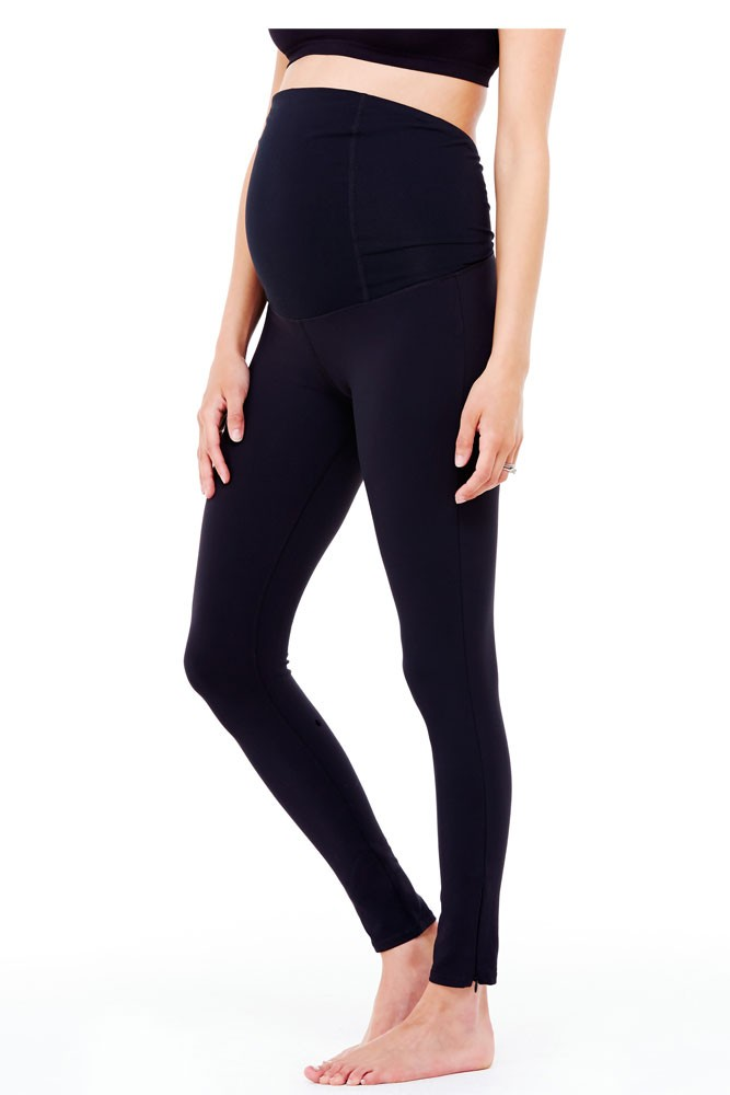 Ingrid & Isabel Active Legging with Crossover Panel - Jet Black - S