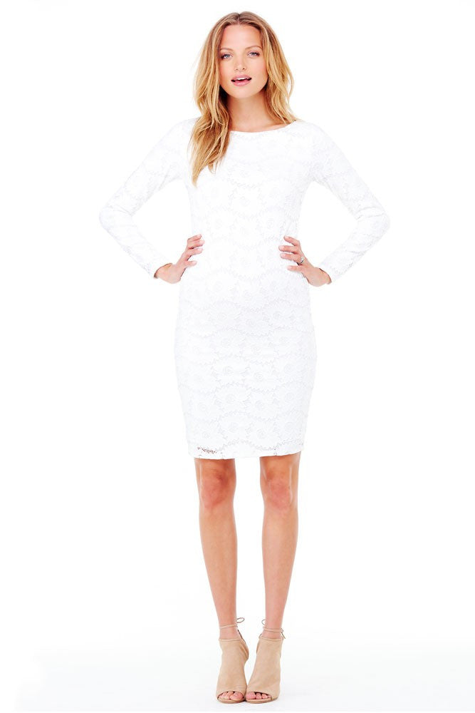 Ingrid & Isabel Boatneck Lace Maternity Dress - Winter White - Size Large