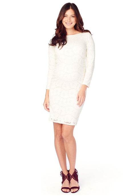 Ingrid & Isabel Boatneck Lace Maternity Dress - Ivory - M
