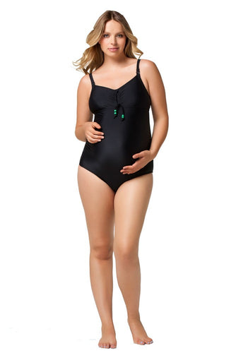 Rosewater by Cake- Squash Nursing Bathing Suit - Black with Apple Green Lining - L