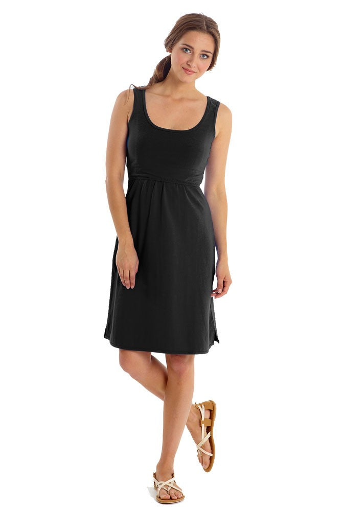 Avery Organic Cotton Scoop Neck Nursing Dress - Black - M