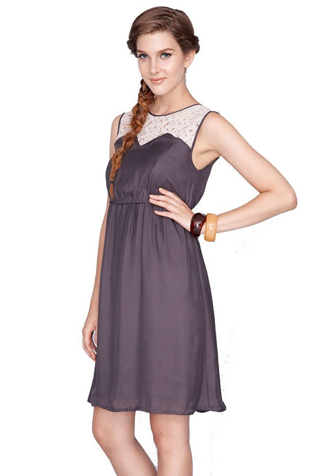 Kaya Lace Trim Nursing Dress - Grey - Size Small