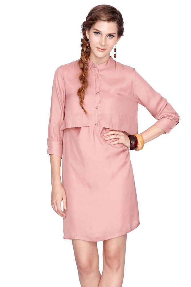 Bobbie Nursing Shirtdress - Blush - Size Large