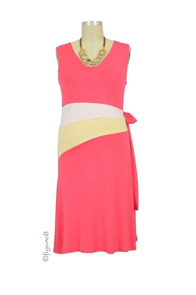 Claire Faux Wrap Colorblock Maternity & Nursing Dress - Coral - Size Medium