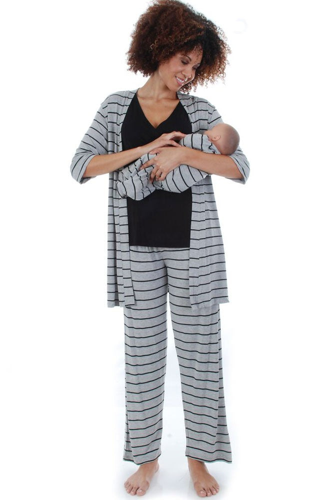 Roxanne 5-pc. Nursing PJ Set with Baby Gown & Gift Bag - Heather Grey Stripes - L