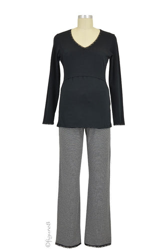 Boob Long Sleeve Nursing PJ top - Black - XL