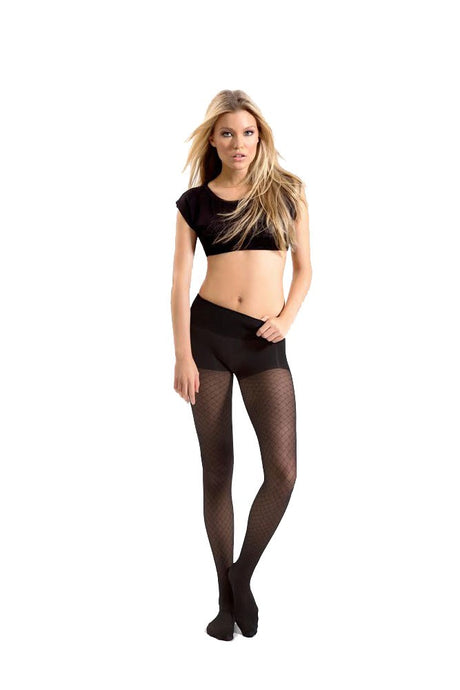Blanqi High Waist Tummy Support Pantyhose (Fishnet Sheer) - Fishnet Black - M