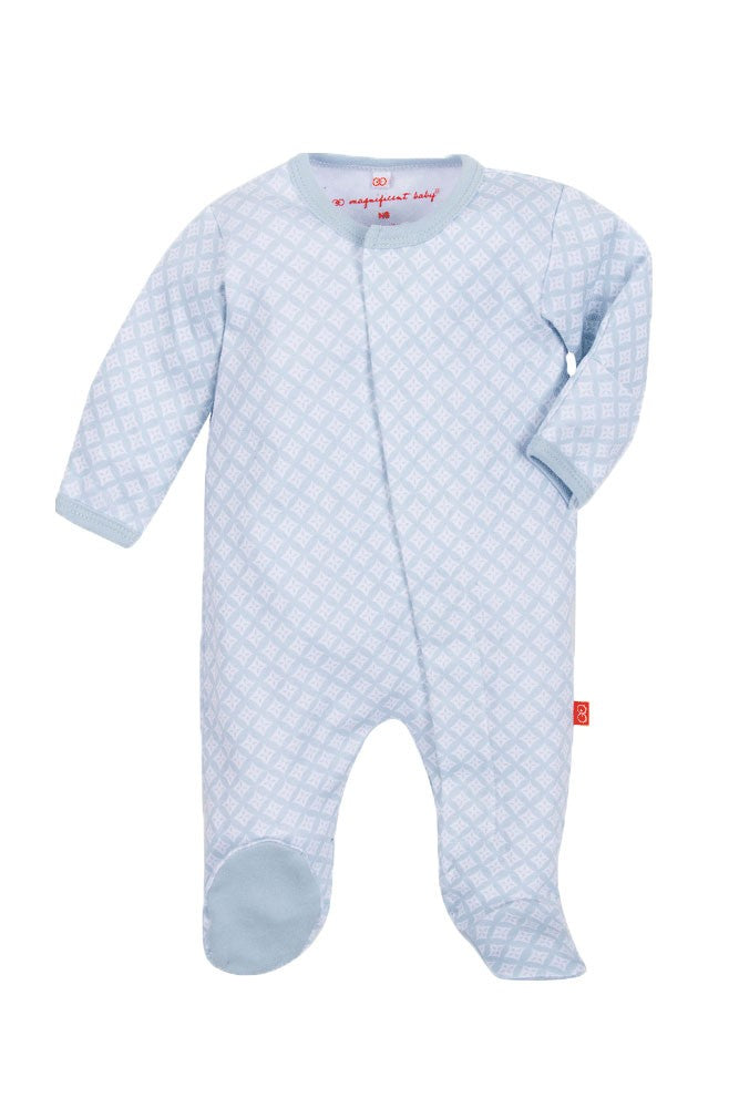 Magnetic Me™ by Magnificent Baby Boy's Cotton Footie - Blue Diamonds - 6 months
