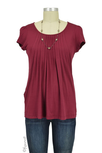 Sophie & Eve Safia Bamboo Pleated Nursing Top - Burgundy - S