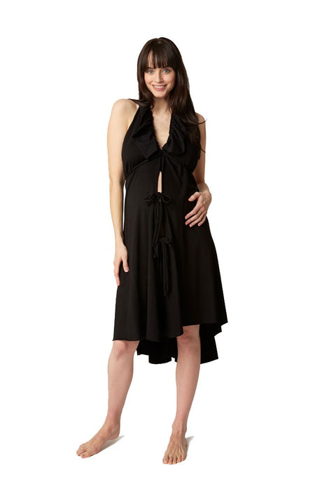 Pretty Pushers Ruffle Cotton Jersey Labor Gown - Black - One Size