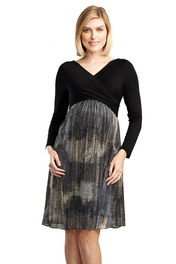 Karina Crossover Long Sleeve Nursing Dress - Black & Metallic Lurex Print - L
