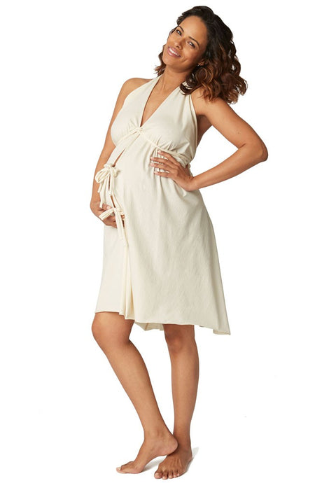 Pretty Pushers Unbleached Cotton Jersey Labor Gown - Cream - One Size