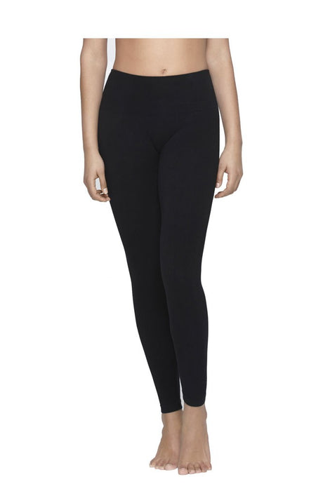 Yummie Tummie Anita Terry Lined Cotton Control Leggings - Black - S/M