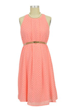 Stella Woven Maternity & Nursing Dress with Belt - Coral Pink Chevron - XXXL
