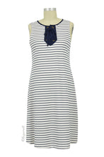 Briana Lace Up Placket Maternity Dress - White / Navy Stripe - Size Xsmall