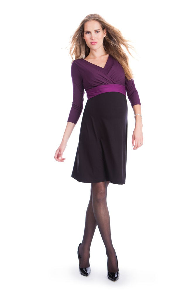 Seraphine Adelaide Maternity & Nursing Dress - Black/Berry - US 6