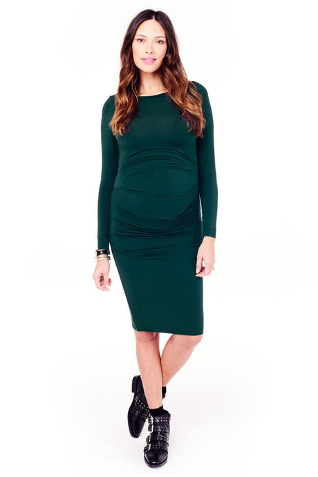 Ingrid & Isabel Long Sleeve Pleated Maternity Dress - Evergreen - M