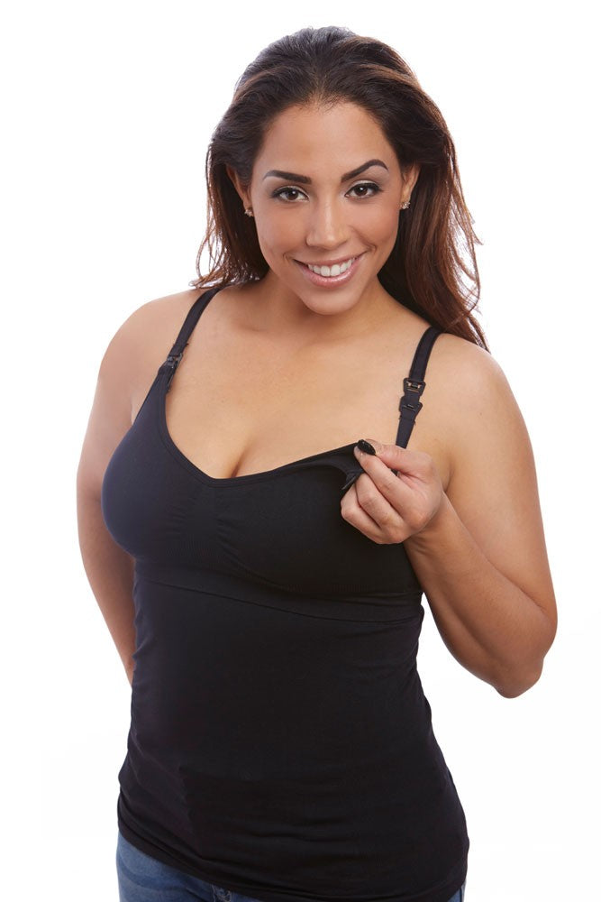 Nourish Nursing & Handsfree Pumping Seamless Cami by Belibea - Black - M