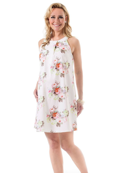 Bella Pleated Woven Maternity & Nursing Dress - Cream Floral - XL