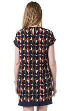 Celia Woven Geometric Maternity & Nursing Dress - Geometric Navy Print - L