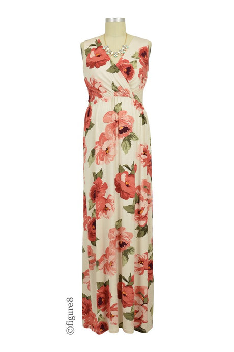 274eee19f6d97 Leona Floral Drop Waist Nursing Friendly Maxi Dress - Sand Floral - M