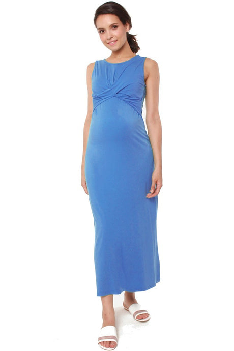Chiyo Bamboo Maternity & Nursing Maxi Dress - Ocean - M