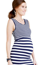 Norah Seamless Striped Maternity & Nursing Dress - Navy & White Stripes - M