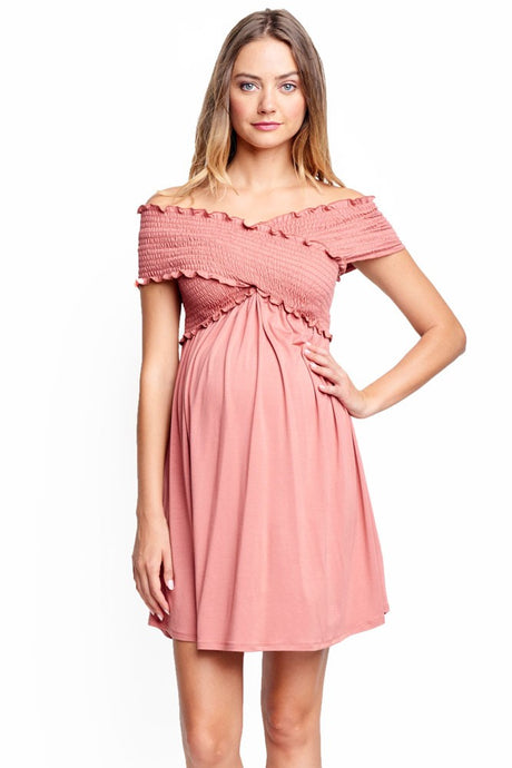Criss Cross Off-the-Shoulder Maternity & Nursing Friendly Dress - Apricot - S