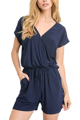 Cyndi Nursing Friendly Short Jersey Romper - Navy - L