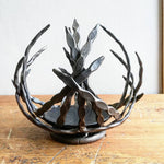 'Boat bowl' blacksmith made candle holder/sculpture.