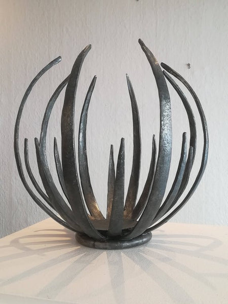Hand forged - large sculptural 'chrysanthemum' bowl candle holder/sculpture
